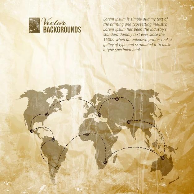 Mapa świata W Stylu Vintage. Premium Wektorów