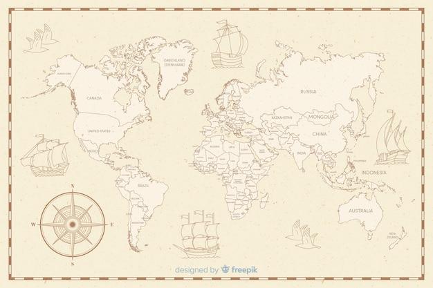 Mapa świata Z Koncepcją Motywu Vintage Darmowych Wektorów