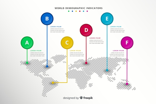 Mapa świata ze wskaźnikiem oznacza infografikę Darmowych Wektorów