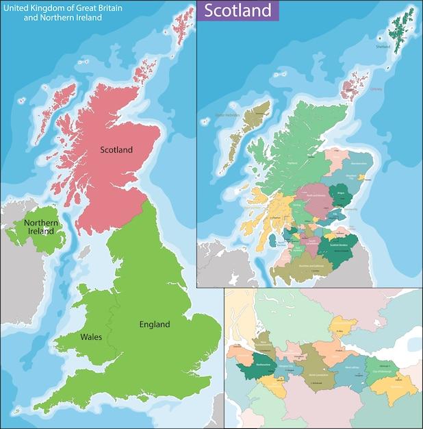 Mapa Szkocji Premium Wektor