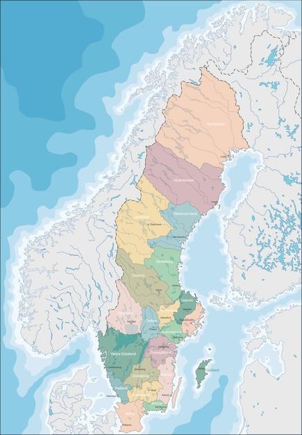 Mapa Szwecji Premium Wektor