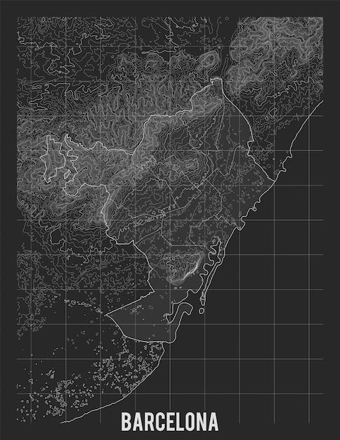 Mapa Topograficzna Barcelony Darmowych Wektorów
