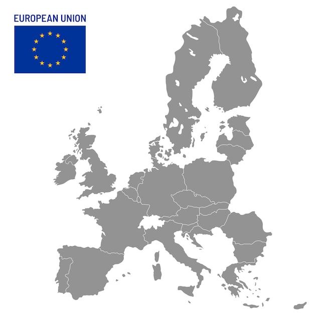 Mapa Unii Europejskiej. Kraje Członkowskie Ue, Europa Kraj Lokalizacji Podróży Mapy Ilustracja Premium Wektorów