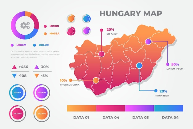 Mapa Węgier Infografiki Styl Gradientu Darmowych Wektorów