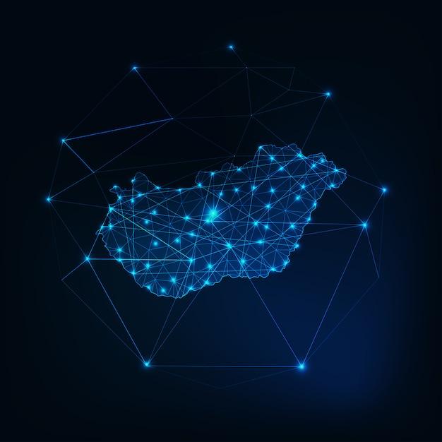 Mapa Węgier świecące Zarys Sylwetki Wykonane Z Niskich Kształtów Wielokątnych. Premium Wektorów