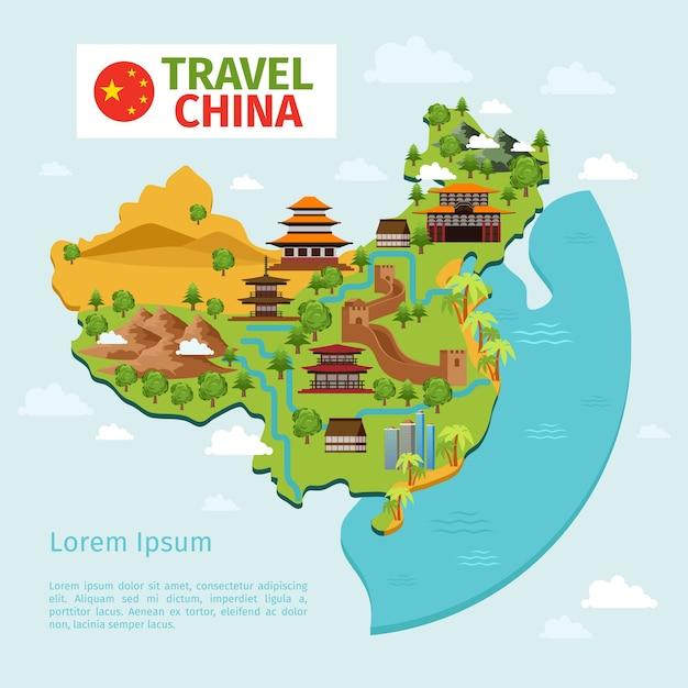 Mapa Wektorowa Podróży Chiny Z Tradycyjnych Chińskich Zabytków. Kultura Azji Wschodniej, Turystyka Wiejska. Ilustracja Wektorowa Mapa Chin Podróży Darmowych Wektorów