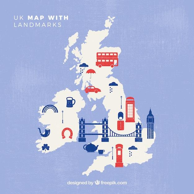 Mapa wielkiej brytanii z pomnikami Darmowych Wektorów