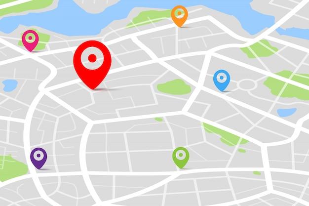 Mapa Z Punktem Docelowym Gps Premium Wektorów