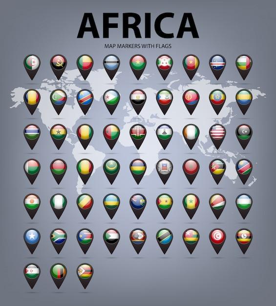 Mapa Znaczników Z Flagami Afryki. Oryginalne Kolory. Premium Wektorów