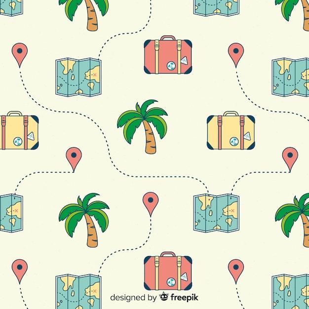 Mapy i walizki w tle Darmowych Wektorów