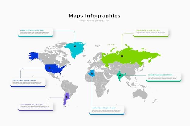 Mapy Infografiki W Płaskiej Konstrukcji Darmowych Wektorów