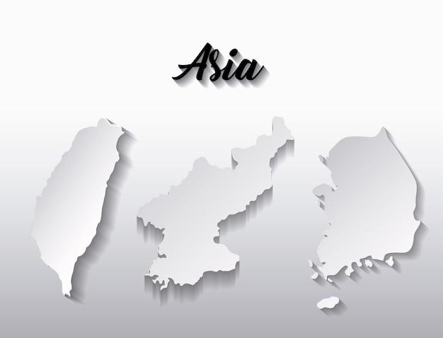 Mapy Krajów Kontynentu Azjatyckiego Premium Wektorów