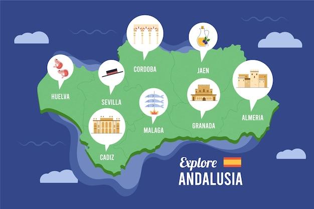 Mapy Z Piktogramami Dla Hiszpanii I Andaluzji Darmowych Wektorów