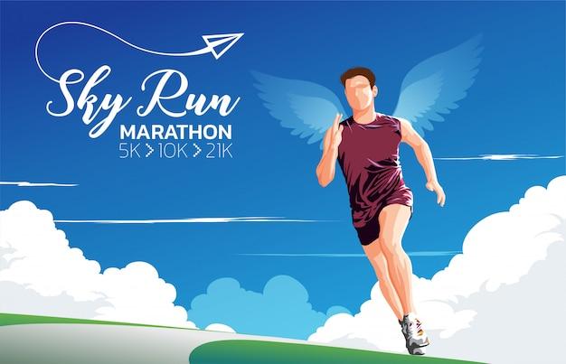 Marathon sky run theme art Premium Wektorów