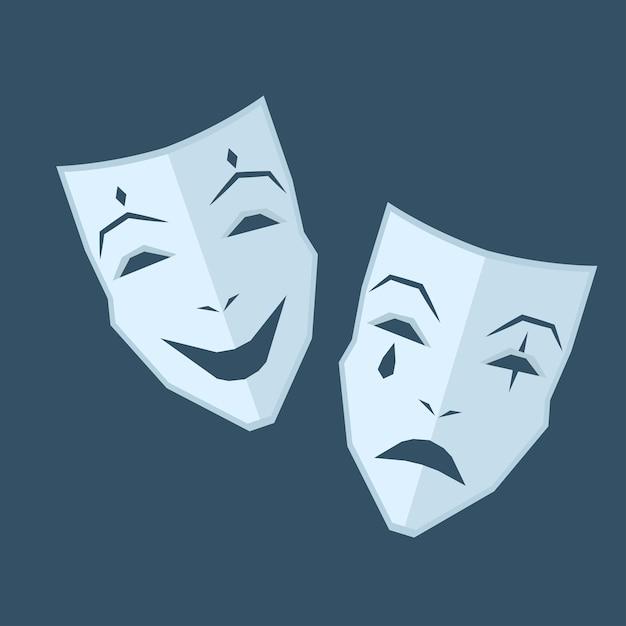 Mardi gras. dwie maski z różnymi emocjami Premium Wektorów