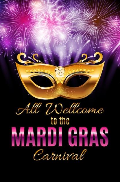 Mardi Gras Party Mask Holiday Plakat Tło. Illustra Premium Wektorów