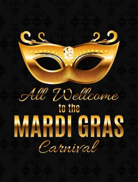 Mardi Gras Py Mask Holiday Plakat Tło. Illustra Premium Wektorów