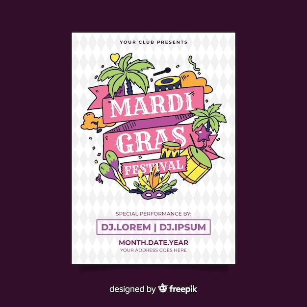 Mardi gras szablon ulotki Darmowych Wektorów