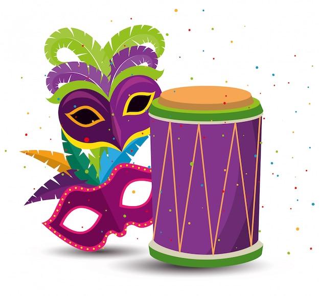 Mardi gras z maskami imprezowymi i bębnem Darmowych Wektorów