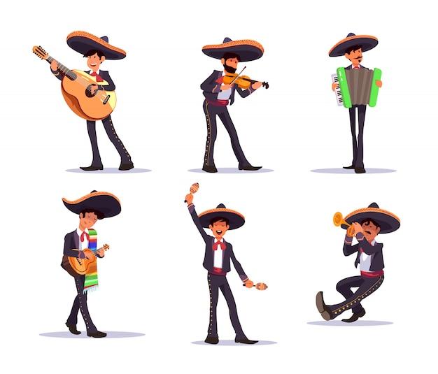 Mariachi Singer. Meksykańscy Muzycy Mariachi Z Gitarą I Marakasami Premium Wektorów