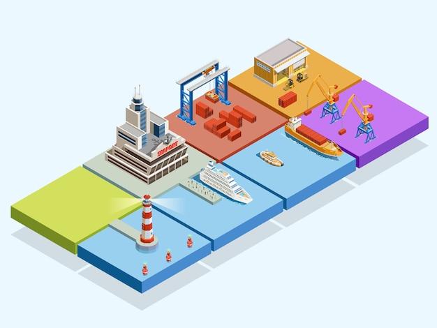 Maritime Logistic Isometric Concept Darmowych Wektorów