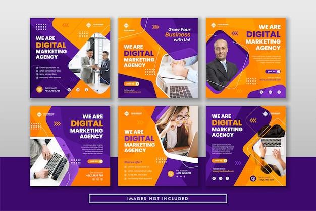 Marketing Cyfrowy Biznesowy Post W Mediach Społecznościowych I Baner Internetowy Premium Wektorów