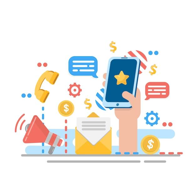 Marketing Cyfrowy Dla Strony Internetowej. Zawiadomienie Lub Ogłoszenie Premium Wektorów