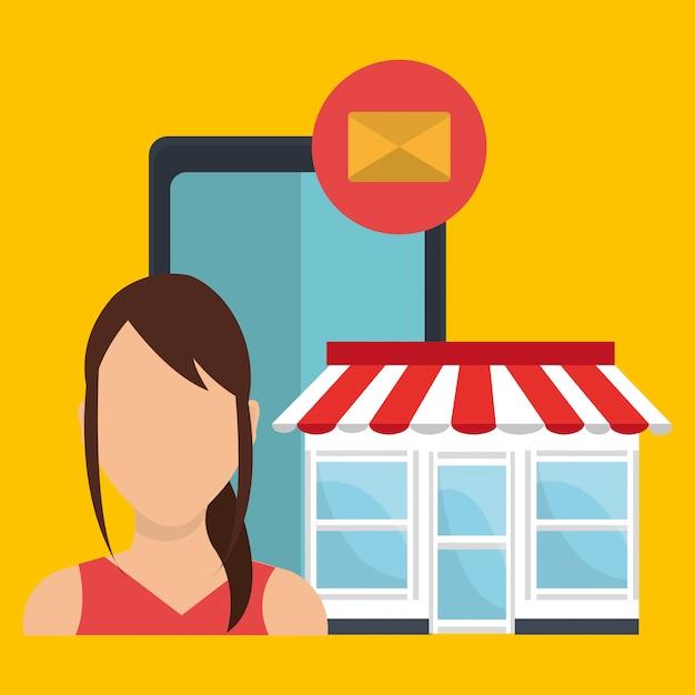 Marketing Cyfrowy I Sprzedaż Online, Postać Z Ikoną Messagge Darmowych Wektorów
