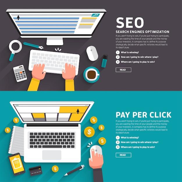 Marketing cyfrowy ilustracje Premium Wektorów