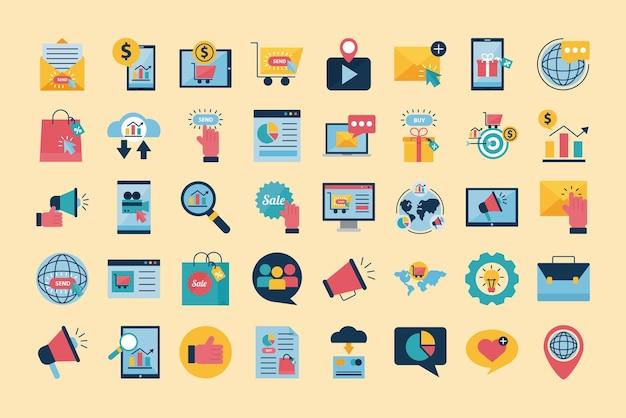 Marketing Cyfrowy Płaski Ikona Projektu Grupy, E-commerce I Ilustracja Motywu Zakupów Online Premium Wektorów