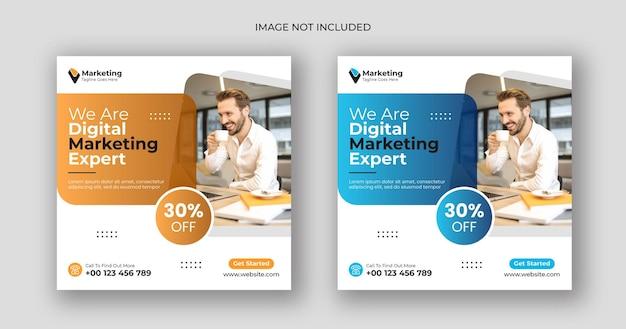 Marketing Cyfrowy W Mediach Społecznościowych Po Kwadratowym Szablonie Banera Premium Wektorów