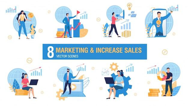 Marketing i sprzedaż zwiększenie zestawu pojęć wektorowych Premium Wektorów