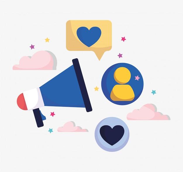 Marketing Reklama Megafon Wiadomość Ludzie Media Społecznościowe Premium Wektorów