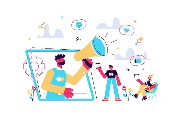 Marketing W Mediach Społecznościowych, Cyfrowa Kampania Promocyjna. Strategia Smm. Jak Gratisowy Udział W Komentarzach, Promocja W Sieciach Społecznościowych, Taka Jak Koncepcja Rolnictwa. Ilustracja Koncepcja Na Białym Tle Premium Wektorów