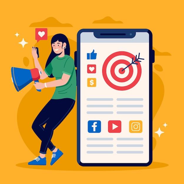 Marketing W Mediach Społecznościowych Na Temat Telefonu Darmowych Wektorów