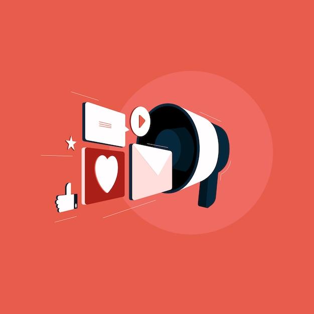 Marketing W Mediach Społecznościowych, Smm, Megafon, Udostępnianie Komunikatów Reklamowych W Mediach Społecznościowych, Komunikacja Sieciowa, Reklama Internetowa Premium Wektorów