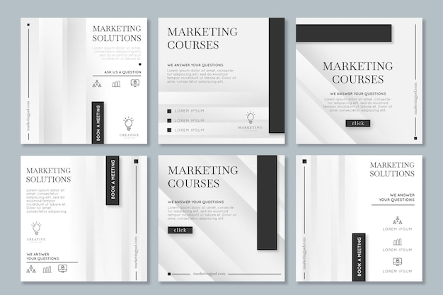 Marketingowa Kolekcja Postów Biznesowych Na Instagramie Darmowych Wektorów