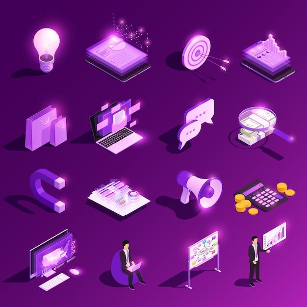 Marketingowego Pojęcia Ikony Isometric Jarzeniowy Set I Pieniężni Piktogramy Z Ludzką Charakteru Wektoru Ilustracją Darmowych Wektorów