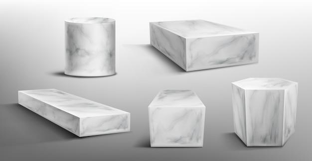 Marmurowe Cokoły Lub Podium, Abstrakcyjne Geometryczne Puste Sceny Muzealne Darmowych Wektorów