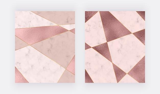 Marmurowy Wzór Geometryczny Z Różową I Różowozłotą Trójkątną Teksturą Folii, Złote Wielokątne Linie. Premium Wektorów