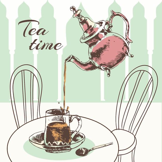 Marokańscy ozdobni szklani nowi liście herbaciani z wrzącą wodą w srebnej teapot nakreślenia wektoru ilustraci Darmowych Wektorów