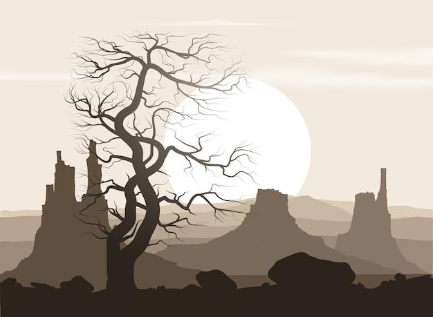 Martwy krajobraz ze starym ogromnym drzewem i górami nad zachodem słońca. Premium Wektorów