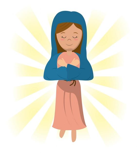 Maryja Panna Pobłogosławił Obraz Modlitewny Premium Wektorów
