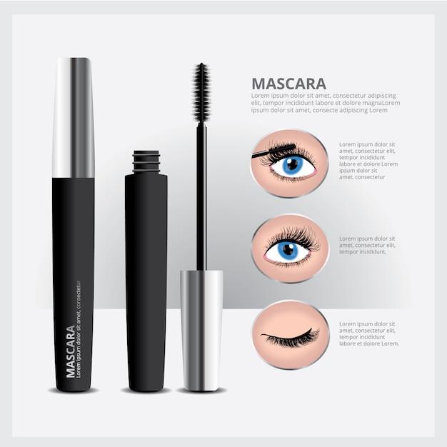 Mascara packaging with eye makeup Premium Wektorów