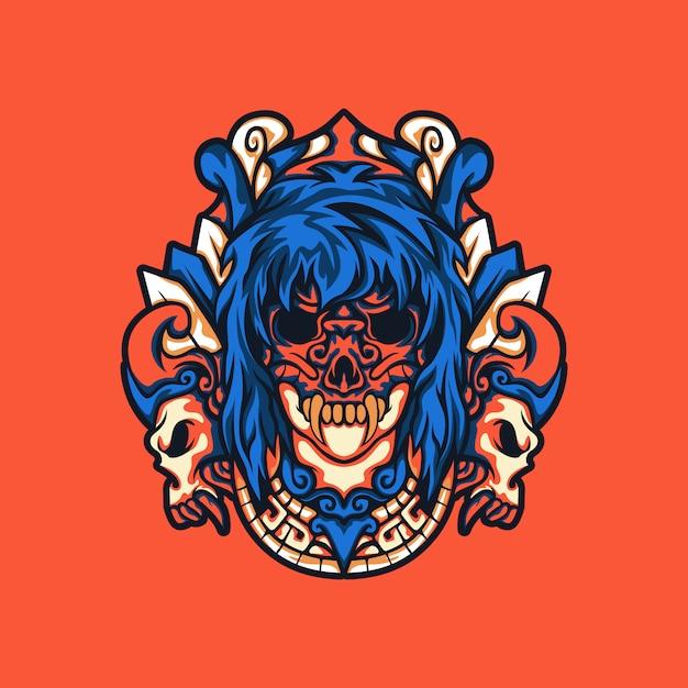 Maska Czaszki Kobiety Z Etnicznym Ornamentem Premium Wektorów