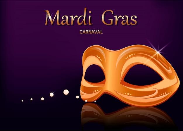 Maska Karnawałowa Mardi Gras. Kartka Z życzeniami Premium Wektorów