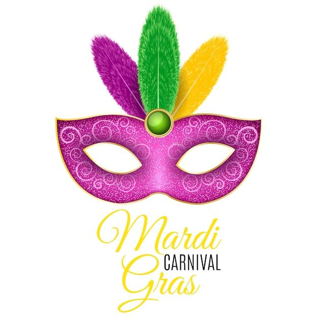 Maska Na Karnawał Mardi Gras. Luksusowa Maska Z Kolorowymi Piórkami Na Białym Tle. Premium Wektorów