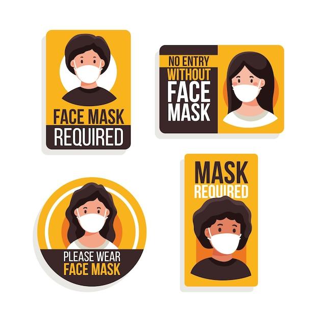 Maska Na Twarz Wymagany Zestaw Znaków Darmowych Wektorów