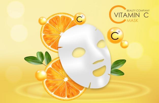 Maska Witaminy C, Firma Kosmetyczna, Pielęgnacja Skóry Premium Wektorów