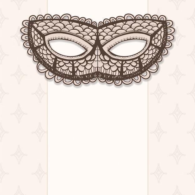 Maskaradowa Maska Na Beżowym Tle Premium Wektorów